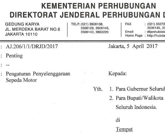 Dirjen Perhubungan Darat: Pengaturan Penyelenggaraan Sepeda Motor